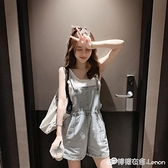 新款韓版夏季百搭牛仔闊腿短褲女潮高腰收腰顯瘦背帶褲女