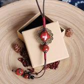 民族風 長款 陶瓷飾品 毛衣掛件 流蘇項鏈/7色 - 夢想家- 1128