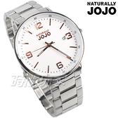 NATURALLY JOJO 大錶面 數字面盤 簡約俐落 都會 藍寶石水晶 男錶 玫瑰金x白 JO96956-80F