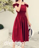 法式復古初戀桔梗裙子一字肩氣質收腰顯瘦吊帶主播連身裙女夏