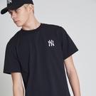 ISNEAKERS 洋基 MLB NY 經典大LOGO 紐約洋基 短袖 短T 黑色 刺繡 韓國官方版 6960201-900-BLK