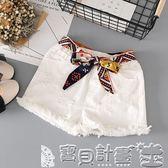 牛仔褲 女童白色牛仔短褲破洞兒童夏季韓版中大童純棉寬鬆彈力薄熱褲親子 寶貝計畫