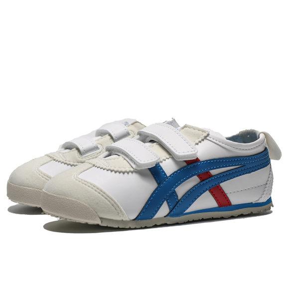 ONITSUKATIGER 亞瑟士 皮革 黏帶 藍紅條 休閒鞋 小童 (布魯克林) C4D4L0143