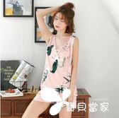 睡衣女夏季綿綢短袖套裝純棉綢薄款可愛家居服寬松人造棉布空調服