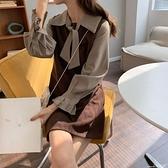 假兩件洋裝 秋季2021新款韓版法式復古裙網紅同款格子拼接假兩件長袖連身裙女 小天使 618