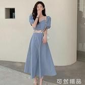 女裝春夏新款法式泡泡短袖洋裝收腰鏤空茶歇裙 可然精品