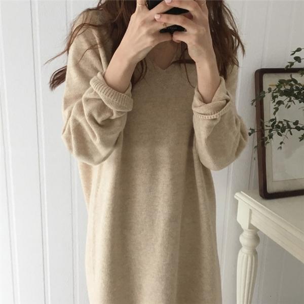 【現貨】針織V領毛衣連身裙 - 秋冬氣質甜美純色顯瘦V領兔毛針織毛衣連身裙/3色BR130