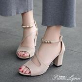 夏季新款網紅同款涼鞋女百搭一字扣魚嘴粗跟高跟時尚羅馬女鞋 范思蓮恩