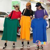 大碼女裝 洋氣糖果色t恤女潮心機小眾短袖純色寬鬆網紅百搭大版中長款夏 6色
