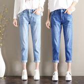 中大尺碼 牛仔九分褲 寬鬆2018新款韓版顯瘦學生高腰破洞款 JA2146『時尚玩家』
