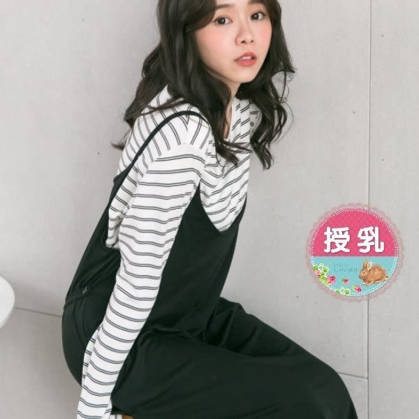 漂亮小媽咪 韓系哺乳裙 【B6257GU】 兩件式 條紋 哺乳衣 吊帶裙 背心裙 吊帶 長裙 長洋裝