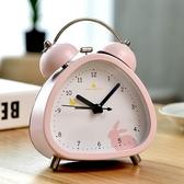 創意可愛卡通鐘錶小鬧鐘錶臥室床頭靜音兒童女學生用時鐘擺件鬧錶
