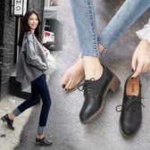 小皮鞋 ZHR秋季新款英倫風軟妹小皮鞋粗跟單鞋中跟休閒鞋真皮女鞋子 卡菲婭