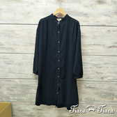 【Tiara Tiara】網路獨家 簡約系排釦襯衫式純棉洋裝(藏青/淺灰/深灰)
