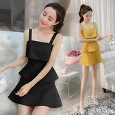 洋裝 黃色吊帶蛋糕裙連身裙夏性感女裝氣質顯瘦小個子2020流行夏天裙子 年終大酬賓