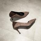 甜美娃娃鞋 2021秋尖頭高跟鞋女淺口韓版細跟可踩后跟單鞋軟皮舒適上班工作鞋 豆豆鞋