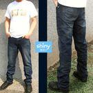 【0529】shiny藍格子-牛仔時尚-超有型抓皺刷色直筒牛仔