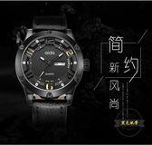 愛迪時運動手錶男 石英錶 男士手錶皮帶 學生時尚潮防水皮質男錶 ~黑色地帶