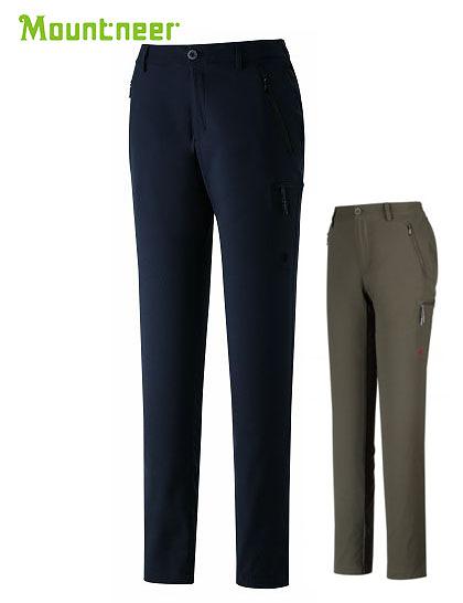 丹大戶外【Mountneer】山林休閒 女彈性抗UV窄管長褲 31S08 黑/深棕灰