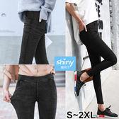 【V2388】shiny藍格子-簡單好感.收腰提臀緊身顯瘦鉛筆小腳九分褲