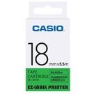 CASIO 標籤機專用螢光色色帶-18mm【螢光綠底黑字XR-18FGN】