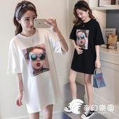 孕婦裝-夏裝新款韓版潮流時尚寬松純棉短袖T恤連身裙上衣-奇幻樂園