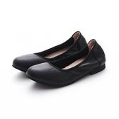 MICHELLE PARK 典雅素面舒適上班族約會平底娃娃鞋-黑色