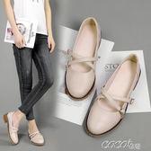 娃娃鞋 學院風復古圓頭小皮鞋女日繫森女淺口平底單鞋學生綁帶 新品