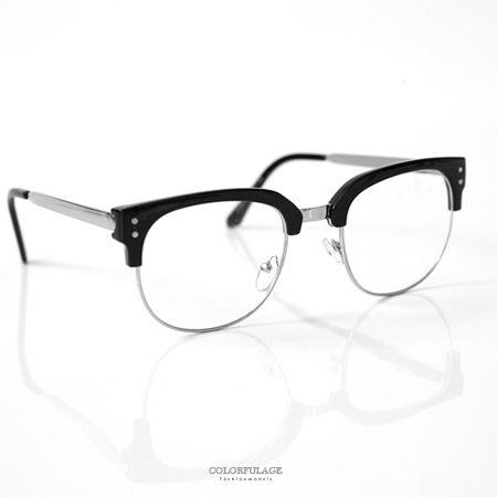 鏡框 方型金屬膠框平光眼鏡  柒彩年代【NY347】單支價