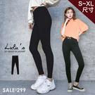 特價品-彈力褲A雙釦窄管長褲S-XL-黑 【04051424】