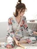 春秋天綿綢睡衣女士長袖薄款純棉綢套裝韓版人造棉寬鬆家居服大碼 韓慕精品