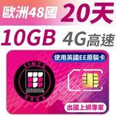 【TPHONE上網專家】 歐洲全區48國10GB超大流量高速上網卡 支援4G高速 20天