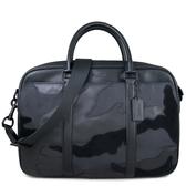 COACH 壓印LOGO尼龍拼接皮革公事包 手提包 電腦包 斜背包 兩用包(黑色)-11635