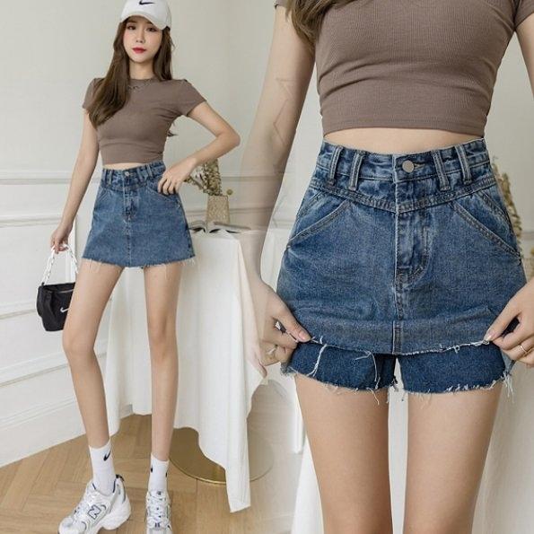 短褲牛仔裙褲高腰S-XL新款百搭顯瘦高腰水洗夏季牛仔褲裙T250A-2211.皇潮天下