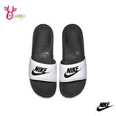 NIKE BENASSI JDI 成人男款 按摩顆粒拖鞋 運動拖鞋 P7196#白黑◆OSOME奧森鞋業