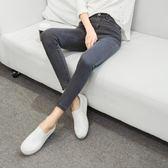 新款高腰牛仔褲女彈力小腳褲灰色鉛筆褲九分修身長女褲子   初見居家