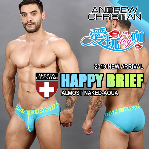 【桃紅/水藍】美國 Andrew Christian 黑皮系列赤裸囊袋低腰三角褲 Happy Brief Almost Naked