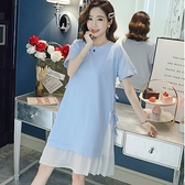 漂亮小媽咪 洋裝 【D3279】假兩件 雪紡 拼接 短袖 開叉 綁帶 孕婦裝 長版衣 孕婦洋裝 []