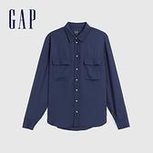 Gap女裝 簡約風格純色拉鍊翻領長袖襯衫 613863-海軍藍