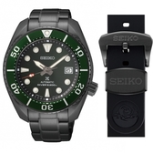 SEIKO精工 PROSPEX限量黑鋼款潛水機械錶6R35-01A0G(SPB195J1)加贈黑色橡膠錶帶