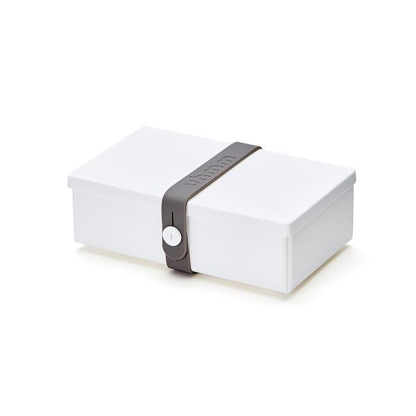 Uhmm Folding No.01 18x10cm 丹麥生活系列 環保折疊式 長方形 午餐盒 - 深灰色束帶款(半透明白色餐盒)