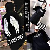 克妹Ke-Mei【AT46167】獨家,愛死了!聖經舊約天使翅膀印花個性T恤上衣