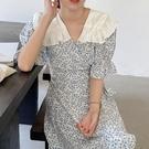 洋裝 韓系撞色荷葉娃娃領碎花一片式收腰連身長裙 花漾小姐【現貨】