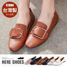 [Here Shoes]MIT台灣製皮革方形扣環好搭圓頭兩穿懶人低粗跟包鞋樂福鞋紳士鞋─KW6616
