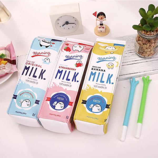 【03083】 水果調味乳筆袋 牛奶盒造型 大容量鉛筆盒 PU材質 開學文具