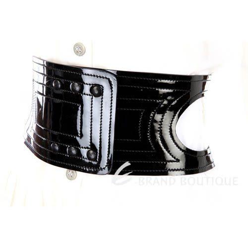 GENNY 漆皮車縫線設計寬版腰帶(黑色) 0570030-01