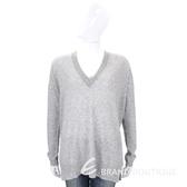 ALLUDE 灰色滾邊設計V領羊毛針織上衣(70%WOOL) 1710083-06