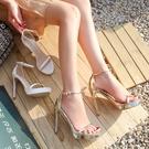2021年新款夏網紅高跟鞋一字帶性感百搭12cm細跟金色防水臺涼鞋女