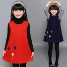 女童洋裝秋冬新款韓版洋氣兒童毛呢公主裙子寶寶背心裙春秋  夏季狂歡