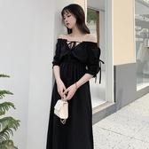 小禮服2020赫本一字肩法式小禮服裙子平時可穿輕熟風小心機顯瘦連身裙女 伊蒂斯